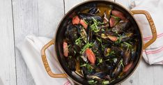 Mussels and Hot Smoky Links with Dijon Wheat-Beer Broth Recipe