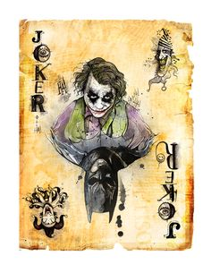 Batman: Joker card by illustrator Dave Mott (could be an alter-ego card, or hero/ villain card. Joker Playing Card, Playing Cards, Kings & Queens, Batman Tattoo, Joker Card Tattoo, Jokers Wild, Heath Ledger, Im Batman, Fanart