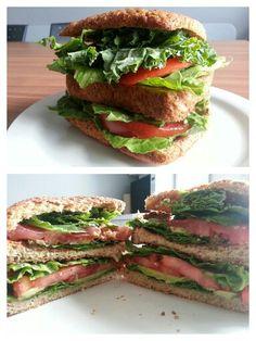 My new big mac - avacadoe tomato sandwich with romaine lettuce and kale on bon matin bread.  3 $ Tomato Sandwich, Big Mac, Lettuce, Kale, Sandwiches, Bread, Diet, Vegan, Food