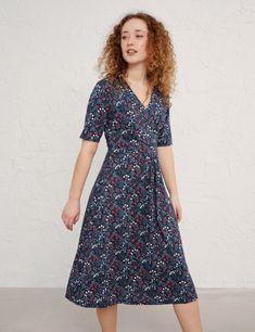 Cotton Floral V-Neck Waisted Midi Dress | Seasalt Cornwall | M&S Thick Tights, Midi Length Skirts, Great Lengths, Rose Dress, Lovely Dresses, Quarter Sleeve, Half Sleeves, Short Sleeves, Lana