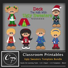 Ugly Sweaters Template Bundle. Clipart Templates for Scrapbooking, Digital Designs, Scrapbooking, Clipart, Creating Cards Printables. Comes PSD Format For Use in Photoshop and Graphics Programs