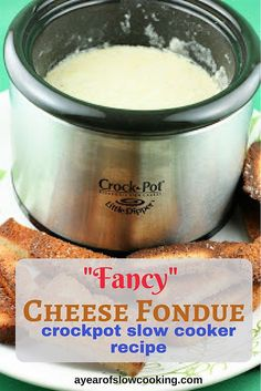 Fancy Cheese fondue in the Little Dipper crockpot slow cooker is a delicious and grown up snack. There's no velveeta here! How to make Fondue from Scratch in the CrockPot Slow Cooker Crockpot Fondue, Fondue Recipes, Cheese Recipes, Fondue Ideas, Dip Recipes, Copycat Recipes, Recipies, How To Make Fondue, Slow Cooker Recipes