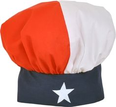 """Texas Flag Chef's hat! Made in Texas - makes  a great gift for every Texan, pair it with our """"deep in the heart of Texas"""" apron. www.desden.com $12"""