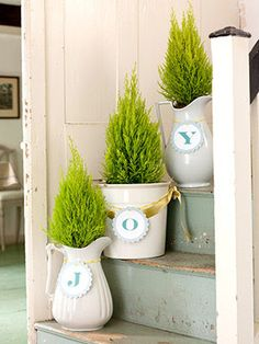 """mini evergreens in pots with """"J"""" """"O"""" """"Y"""" on each one"""