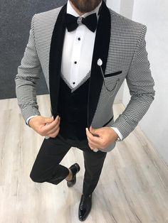Size Suit material: Satin Fabric, Lycrawashable : No Fitting :Slim-fit Remarks: Dry Cleaner Season : 2019 Spring Wedding Season wedding suits for men Cristian White Checked Tuxedo Slim Fit Tuxedo, Tuxedo Suit, Tuxedo For Men, Wedding Dress Men, Wedding Men, Men's Tuxedo Wedding, Wedding Tuxedos, Best Man Outfit Wedding, Men Party Outfit