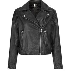 Women's Topshop Sheepskin Leather Biker Jacket (5,660 MXN) ❤ liked on Polyvore featuring outerwear, jackets, zip jacket, vintage motorcycle jacket, sheep leather jacket, biker jacket and vintage leather jacket