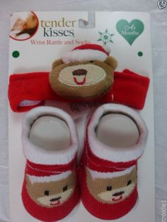 Infant Christmas Socks & Wrist Rattle Bear Red & White New 0 to 6 Months #TenderKisses #AnkleSocks