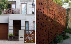 brise-vue jardin avec un panneau en acier corten