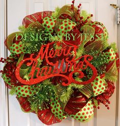 Merry Christmas Deco Mesh Wreath