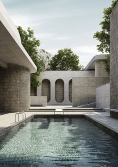 Brutalist Pool Series – Massimo Colonna (Exclusive to TCH) - The Cool Hunter Aesthetic Value, Affordable Housing, Brutalist, Pool Houses, Urban Landscape, Modern Architecture, Mediterranean Architecture, Beautiful Architecture, Home Projects