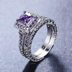 Princess Amethyst 14k White Gold Finish Women Wedding Engagement Ring Set 2pc