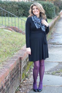 Little Black Wrap Dress - dress up LBD with scarf and bright tights - Der Beweis: Auch ein leichter O-Typ kann ein Wickelkleid tragen :-)