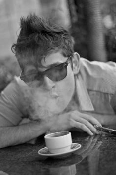 smoke | coffee | young | cool | morning tradition | smoker | cafe | black & white | retro | photograph | www.republicofyou.com.au