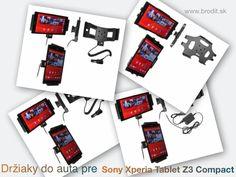 Nové držiaky do auta pre Sony Xperia Tablet Z3 Compact. Pasívny držiak Brodit pre pevnú montáž v aute, aktívny s CL nabíjačkou alebo s Molex konektorom.