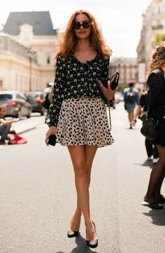 Perfect fall inspiration. Mixed prints from Stockholm Streetstyle #skirt #blouse