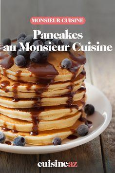 Pour le petit déjeuner ou le brunch, ces pancakes au Monsieur Cuisine trouveront leurs amateurs.  #recette#cuisine#pancake#petitdejeuner #brunch #robotculinaire #MonsieurCuisine Pancakes, Robot, Breakfast, Cooking Recipes, Morning Breakfast, Morning Coffee, Pancake, Robots, Crepes