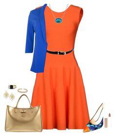 """Blue + orange + gold"" by lsesstar ❤ liked on Polyvore"