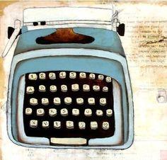 A happy blue typewriter
