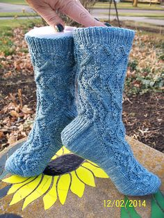 Finished - great pattern  Start date: 11-7-2014   Completion date: 11-8-2014   Pattern: HiyaHiya Wave Socks (toe up)   Yarn: Hazel Knits Artisan Sock in Cornflower   Needles: 1.5 Circular Red Lace   --- fireboysgirl (Ravelry Name) said.