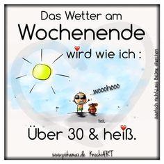 Das Wetter am Wochenende wird wie ich: Über 30 & heiß.