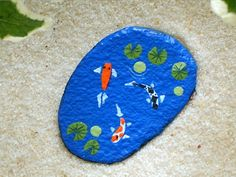 Mother's Day gifts home and living decor ornaments, Koi pond miniature hand painted rocks by RockArtiste, $20.00