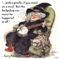 Nanny Ogg.  Discworld quote by Sir Terry Pratchett. Artwork by Boulet. Poster design by Kim White.