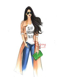 Fashion Sketch of fashionista in fall fashion outfit by Rongrong Illustration on Etsy