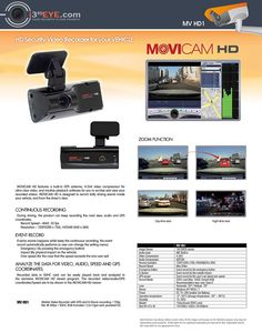 MOVICAM HD Recorder for Your Vehicle (720P HD / GPS Built-In / G-Shock Sensor / Condenser Microphone / SDHC Card Storage) + Software to track on Google Maps (Location, Stops, Speed, Etc.)!
