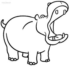 Hippo clip art coloring pages Hippo Party Pinterest Clip