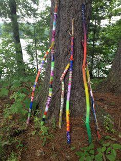 Painted walking or garden sticks