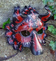 Burgundy and Silver Wolf Mask by *merimask on deviantART
