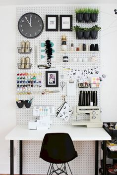 install a pegboard on your bedroom wall to provide a quick storage solution for the small things in your home! Home organization ideas for small bedroom Home Office Design, Home Office Decor, Home Design, Diy Home Decor, Room Decor, Office Ideas, Office Designs, Design Ideas, Creative Office Decor