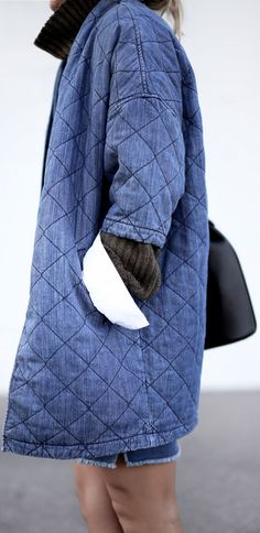 Blue Quilted Denim Half Sleeve Coat