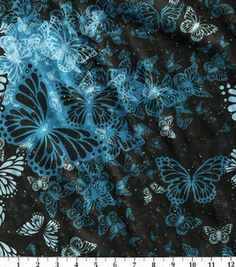 Silky Print Fabric-Aqua Trans Beaded Charmeuse  - dark navy with blue butterflies and silver glitter dots - 2 yds