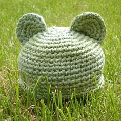 Little Bear Preemie Baby Hat free crochet pattern - 48sc