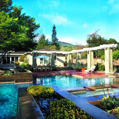 This garden has many gathering areas and facilities for entertaining Ranch House Remodel, Cottage Homes, Home Remodeling, Earth, Mansions, Sunset, House Styles, Cottages, Cottage