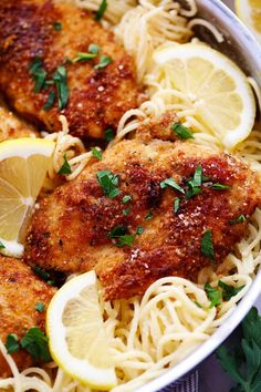 Crispy Parmesan Chicken with Creamy Lemon Garlic Pasta3