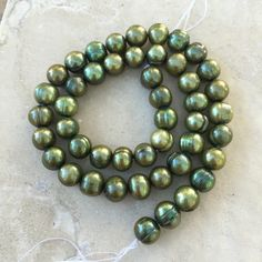 Green Pearl Beads, freshwater pearls, green potato pearls, 16 inch strand, 8mm by marketplacebeads on Etsy