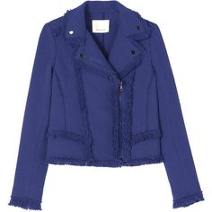 Rebecca Taylor Slub Tweed Jacket ($495) ❤ liked on Polyvore featuring outerwear, jackets, blueberry, blue moto jacket, blue biker jacket, fringe jacket, slim jacket and biker jacket