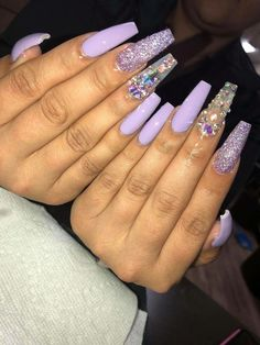 Try some of these designs and give your nails a quick makeover, gallery of unique nail art designs for any season. The best images and creative ideas for your nails. Purple Acrylic Nails, Best Acrylic Nails, Purple Nails, Bling Nails, Swag Nails, Glitter Nails, Grunge Nails, Acrylic Nail Art, Rhinestone Nails
