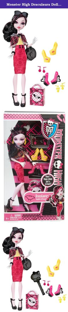 Monster High Draculaura Doll & Shoe Collection. Monster High Draculaura Doll & Shoe Collection: Like any fashionable ghoul, the students of Monster High love their shoes and accessories! With this assortment, Cleo de Nile and Draculaura dolls are ready to share their shoe secrets, opening up their closets to showcase their favorite pairs! Includes doll, assortment of shoes, earrings, pair of sunglasses and shopping bag. Each sold separately, collect them all!.