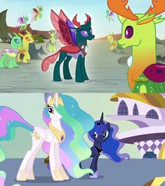 #1525928 - changedling, changeling, comparison, discovery family logo, king thorax, pharynx, prince pharynx, princess celestia, princess luna, princess twilight sparkle (episode), safe, screencap, spoiler:s07e17, thorax, to change a changeling - Derpibooru - My Little Pony: Friendship is Magic Imageboard