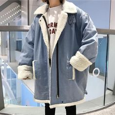 DENIM OVERSIZED FAUX LAMB PLUSH COLLAR WARM COAT JACKET