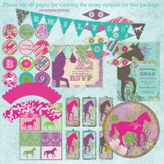 Horse Equestrian Vintage Birthday Party Pack Set Package - card invitation banner Digital Printable - customized