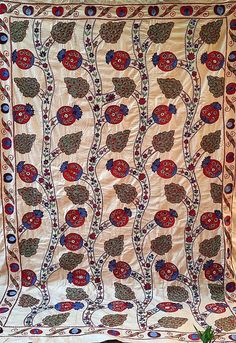 Village Drawing, American Houses, Contemporary Embroidery, Embroidery Motifs, Ikat Fabric, Fabric Strips, Bed Spreads, Traditional Art, Art Forms