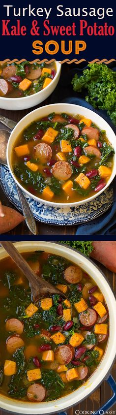Turkey Sausage, Kale and Sweet Potato Soup - Easy and delicious fall soup! Love this combination of flavors!