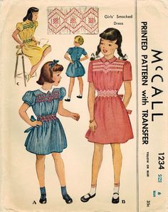 1940s McCall 1234 Vintage Sewing Pattern Girls by midvalecottage