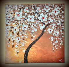 ORIGINAL 24x24 Fine Art, Contemporary, White Cherry Blossom Tree, Acrylic Painting, Home decor, Landscape, Ready to hang Artwork, great gift