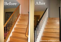 Low Cost Stair Railing Makeover- from golden oak to ebony & white