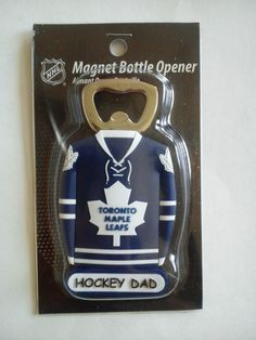 "NHL Toronto Maple Leafs Jersey Style ""Hockey Dad"" Magnet Bottle Opener for Beer #NiagaraRiverTradingCoNHL #TorontoMapleLeafs"
